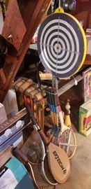 Vintage dart board, croquet set