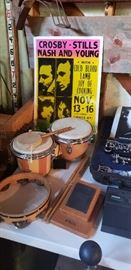 Vintage bongo drums, drum sticks, tamborine, Vintage concert poster