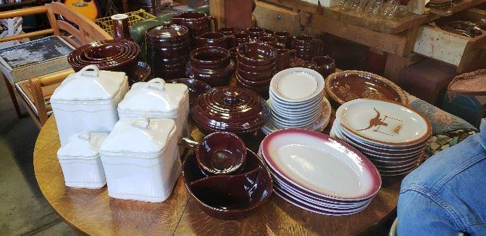 Set of vintage dark brown Marcrest dishes from the 1950's/60's, vintage restaurant platters, rooster platter, white canister set