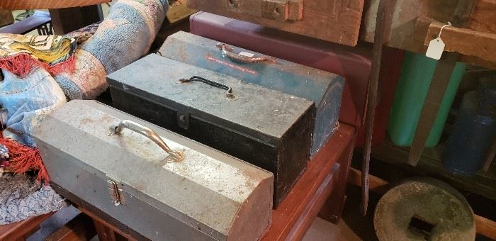 Lots of vintage tool boxes