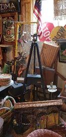 Vintage surveyor's Transit, stand, case, Vintage Swedish medical stretcher, crossing guard signs, Vintage movie projector items, baskets