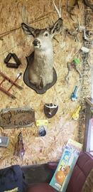 Vintage deer mount, deer racks, kid's fishing rods