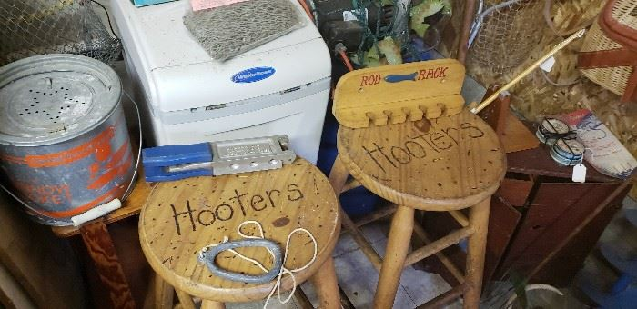 Vintage Hooter's bar stools and misc. fishing