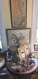 Nautical prints, lighthouses, clock, frames, misc.