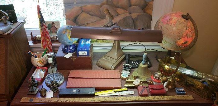 Desk lamps, globes, vintage desk/office items