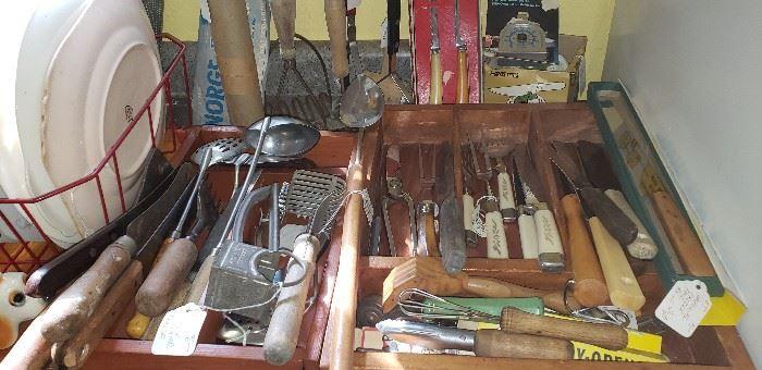 Vintage kitchen knives, sets, utensils
