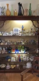 Misc. glassware, dozens of oil lamps, tiny to large, animal figurines, Wade figurines