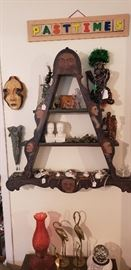Vintage folk art display shelf w/painted faces, red electric lamp, electric white noise machine