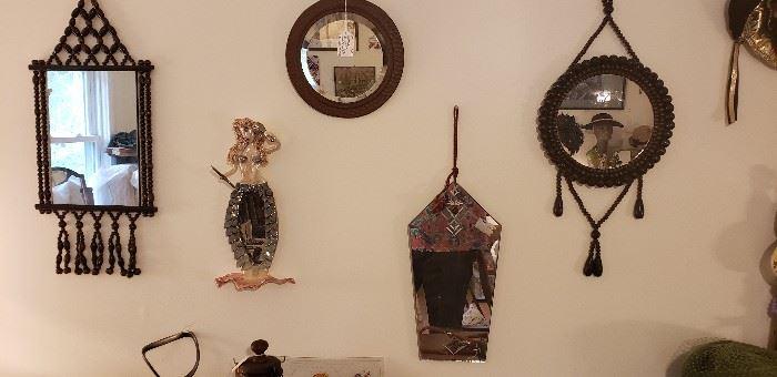 Many vintage wall mirrors