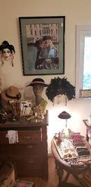 Vintage wall masks, hats, hat stands prints, eye glasses