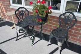 Wrought Iron Patio Table & 2 Chairs