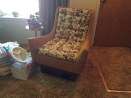 ONE OF 2 MID CENTURY PLATFORM CHAIRS AND A MATCHING SOFA