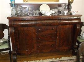 Empire burl mahogany sideboard