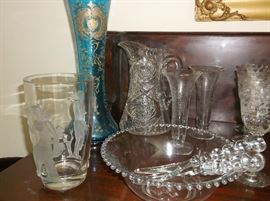 Candlewick salad set, brilliant cut glass, etched glass