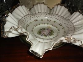 "13"" hand painted Fenton silvercrest bowl"