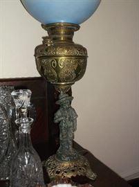 Banquet lamp w/spelter figure