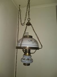Painted Milk Glass Light Fixture
