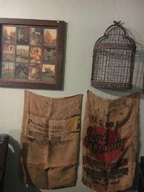 Burlap sacks, bird cage