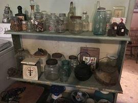 Bottles, jars, scale, smut pot, cast iron pot