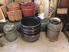 Milk can, water bottle, baskets, planters