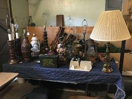 Various lamps, ammo box