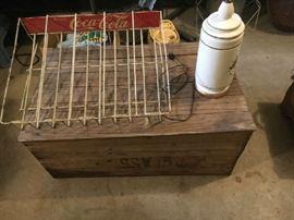 Coca Cola display rack, vintage wooden glass crate