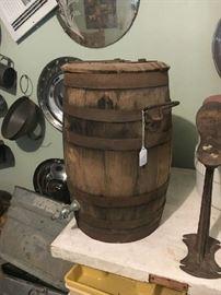 All original wooden whiskey barrel