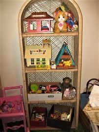 Playschool Toys, etc., Wicker Domed Shelf Unit