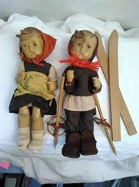 Vintage Hummel Doll Pair, Boy Skier, German Girl   https://ctbids.com/#!/description/share/46769