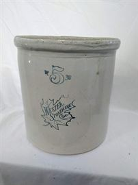 Western Stoneware Co, 5 Gallon Crock, Blue Maple Leaf Logo  https://ctbids.com/#!/description/share/47071