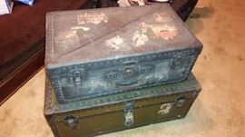 Two old steamer trunks