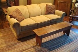 Sofa and antique bench.
