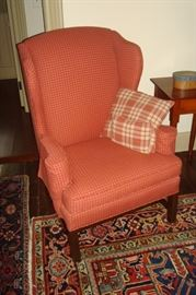 one of a pair wing back chairs.