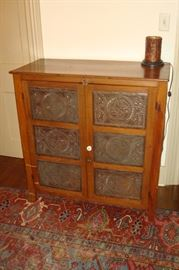 Antique pie safe with punched tin panels.