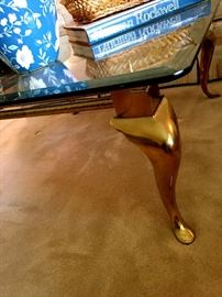 Brass and Glass Coffee Table and Side Tables...Lamps Too!...