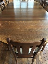 Now...Upstairs...This Is the Most STUNNING Antique Oak Dining Table I Have Even Seen!....I Believe There Are...5 Leaves!...8 Chairs!...