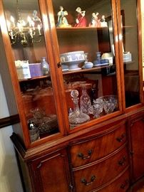 Hey...Somewhere To Keep The China!...A Beautiful matching Cherry Lighted China Cabinet...