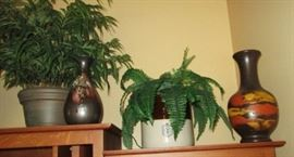 Vintage stoneware and modern pottery vases