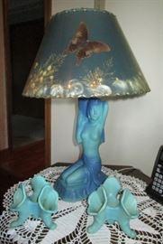 Van Briggle lamp w/ original shade, Van Briggle candle holders