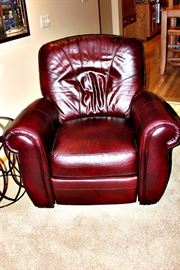 Leather chair - has matching sofa and ottoman.
