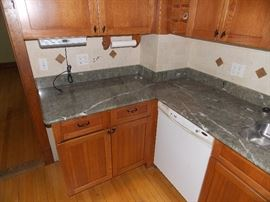 Mission Cherry Kitchen Cabinets ,  Granite Counter Tops , New Refrigerator , Electric Stove , Microwave , Island
