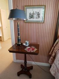 "another soldier print. Antique Mahogany table 24""w x 17 1/4""d x 29 1/2""h asking $400  Black and metal lamp asking $300"