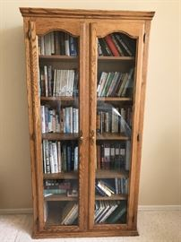 Oak Bookcase with Glass Doors