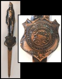 Native American Design. 1890 Copper Letter Opener with the Seal of the State of Wyoming. From Sheridan, WY.