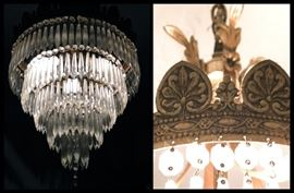 Absolutely Gorgeous Antique Five Tiered Crystal Chandelier with Ornate Design.