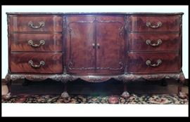 Stunning  Solid Mahogany Hand-carved Antique Buffet With Claw Feet 72 inches by 20 inches by 35 inches.  This piece matches the China buffet.