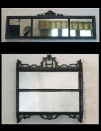 Antique Three Paneled Mirror 53 inches by 14 inches and Mirrored Curio Shelf 25 inches by 6 inches by 22 inches.