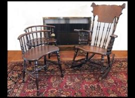 Antique Oak Spindle Rocker and Two Similar but Different Spindle Chairs.