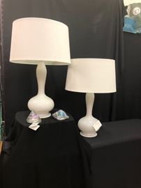 Fantastic pair of Murano glass lamps with silver flecks throughout.