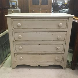 Antique English circa 1880 painted pine cottage chest of drawers with faux bamboo decoration.